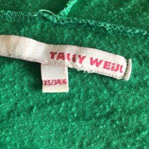 Tally Weijl Tops - Bright Green Hoodie Tee Tunic Short Sleeve XS